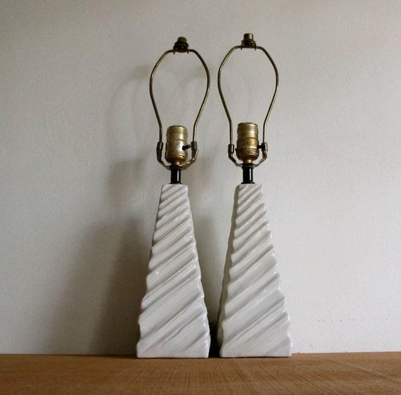 Mid Century Modern Lamps - Pair of White Ceramic Pyramids