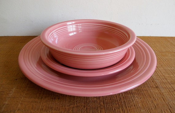 Sale Vintage Fiestaware Dish Set Rose Color Early 1990s