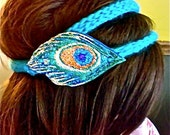 Peacock Feather Fascinator On Double Knit Turquoise Headband-Hand Sculpted, Painted, Glittered, Knit SALE