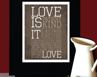 "1 Corinthians 13: LOVE, Inspirational Quote, ""Love is Patient, Love is Kind"", Art for Print, Subway Art. Unframed"