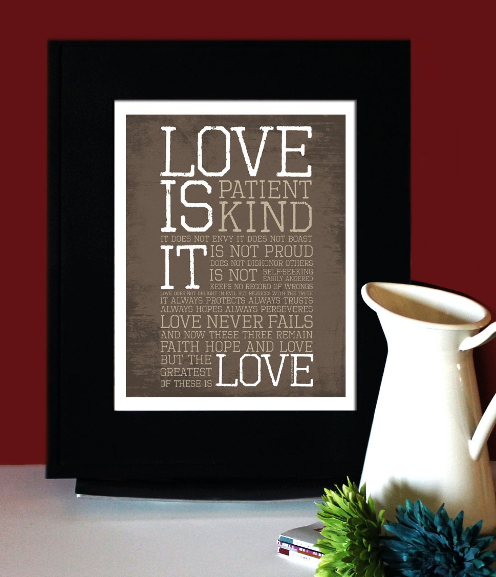 Corinthians 13: LOVE Inspirational Quote Love is