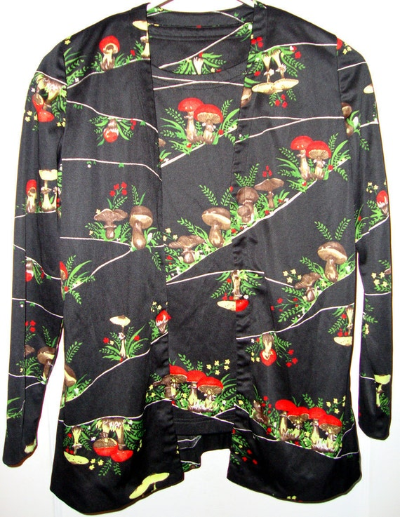 1970's Vintage Polyester Suit Black Red Green Brown Retro Mushrooms