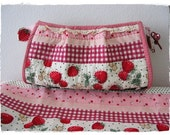 Red strawberry zippered pouch/Hand Quilted Bag/ Cosmetic Bag/Make up Bag