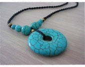 Summer turquoise pendant necklace with black twist wax cord / handmade necklace/summer fashion