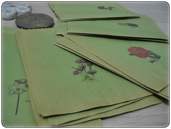 Vintage Olive Green Kraft Paper Bag. Set of 36 Pcs.