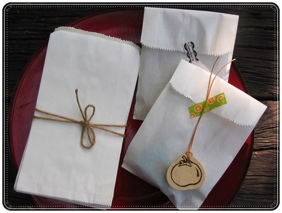 White Kraft Paper Bag / Favor Bags for Candy Buffet /set of 50