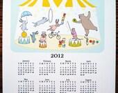 Cute 2012 Wall Calendar - Animal Circus Tent