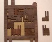 The Puzzle of Twelve Rabbits - Wood Teapot Coaster