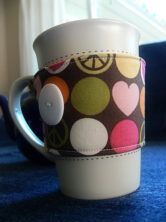 Coffee/Tea Cup Cozy- Peace, Hearts, and Polka-Dots- Ready to SHIP