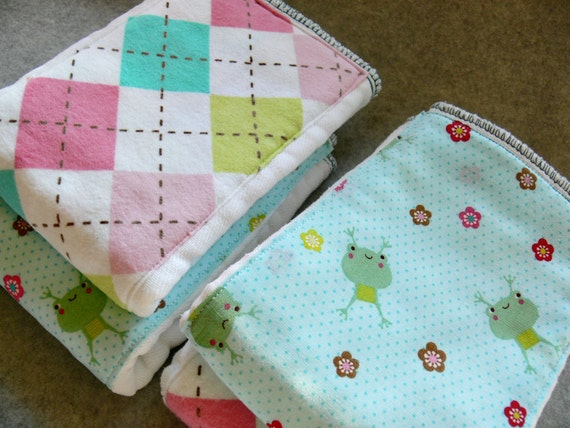 Baby Burp Cloths set of 4- Argyle Flannel and Frogs (2 of each print)..