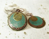 Copper brass rustic earrings.