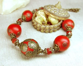 Red brass necklace in vintage style. OOAK