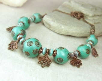 Mint copper necklace. OOAK. Free shipping