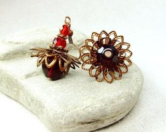 Red flower earrings.