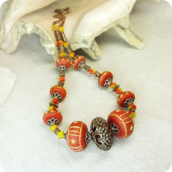 Orange ethnic necklace. Free shipping