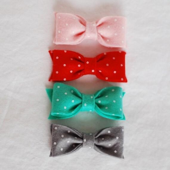 Four Teeny Tiny Newborn Polka Dot Bows