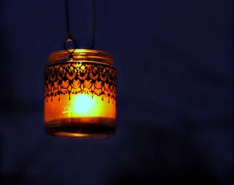 Hanging Candle Holder Inspired by Moroccan Lanterns, Blueberry Tinted  Glass With Black Accents