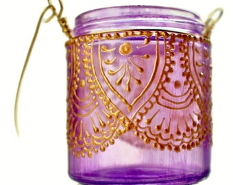 Hanging Candle Holder Inspired by Moroccan Lanterns, Lavender Tinted Glass With Henna Golden Accents