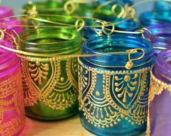 Moroccan Wedding Decor, 18 Hanging Candle Lanterns Inspired by Moroccan Decor, Your Choice of Colors