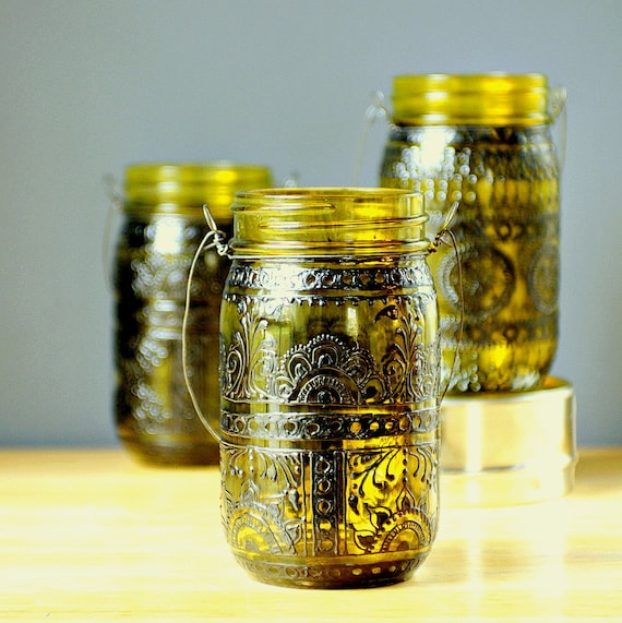 Hand Painted Mason Jar Lantern,Canary Yellow Tinted Glass with Black Accents