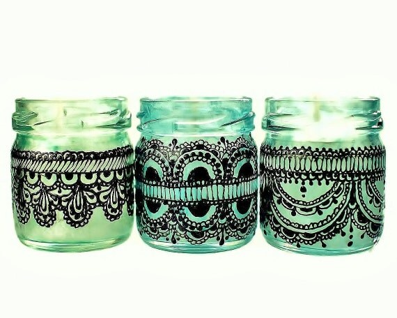 Mini Mason Jar Candles,  Gift for Her, Boho Decor Candles, Three Moroccan Jar Candles- Green Glass with Soy Candle, Black Lace Detailing