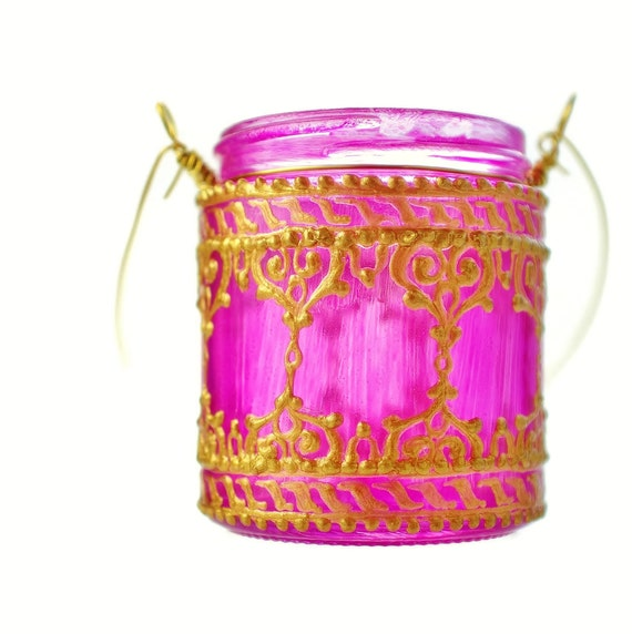 Hanging Candle Holder Inspired by Moroccan Lanterns, Bright Pink Tinted Glass With Golden Accents