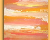 """RESERVED. Art Abstract Acrylic Painting Fine Art on Gallery Canvas Titled: CORAL SUNRISE.  24x24x1.5"""" By Ora Birenbaum"""