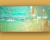 RESERVED. Aqua,Tan, Beach Abstract Acrylic Painting Original Large Art Textured Fine Art on Gallery Canvas. Titled: BEACH GLASS. 24x48x1.5""