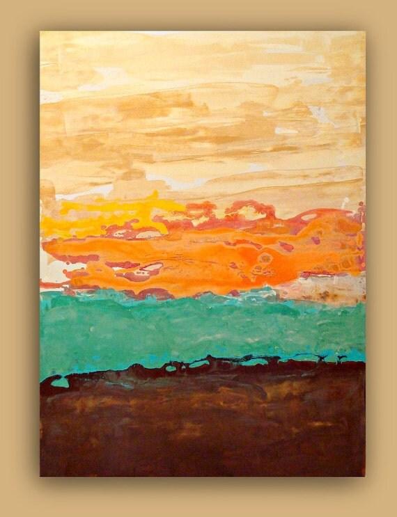 "Painting Abstract Acrylic Art Titled: Aqua Waves Abstract Acrylic Fine Art Painting on Gallery Canvas 30x40X1.5"""
