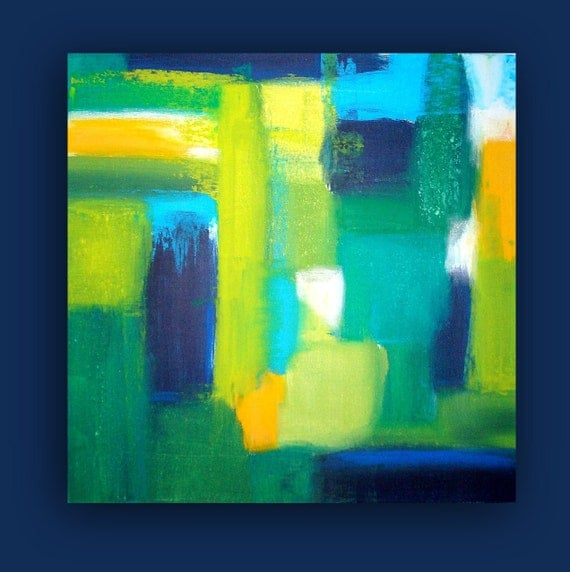 """ORIGINAL Blue and Green Abstract Acrylic Painting on Gallery Canvas Titled: UPTOWN.  30x30x1.5"""" byOra Birenbaum Abstract."""