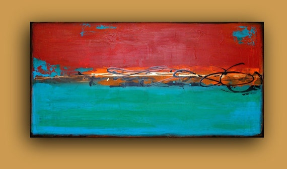 """Turquoise and Red Abstract Acrylic Painting URBAN II.  24x48x3/4"""".  Ora Birenbaum Original Abstract Painting."""