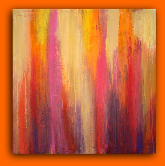 "Abstract Acrylic Art Original Painting Textured Fine Art on Gallery Canvas By Ora Birenbaum Titled: Summer Love 24x24x1.5"""