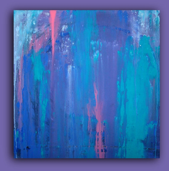 "ORIGINAL Aqua and Purple Original Abstract Acrylic Painting Fine Art Titled:WATERCOLORED MEMORIES 24x24x1.5"" by Ora Birenbaum"