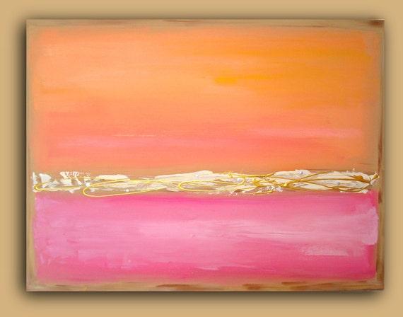 "ORIGINAL ART Dreamsicle Painting Fine Art Abstract Peach Coral Pink on Canvas 30x40x1.5"" by Ora Birenbaum"