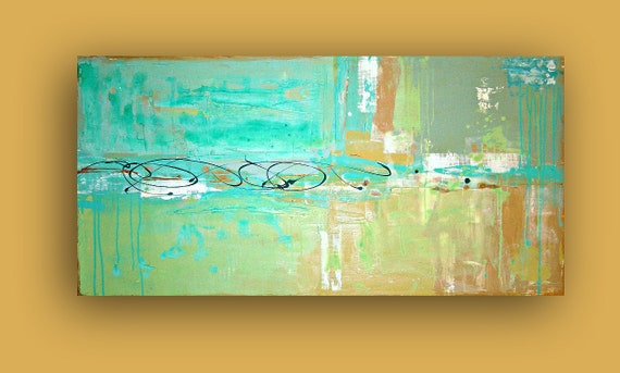 """RESERVED. Aqua,Tan, Beach Abstract Acrylic Painting Original Large Art Textured Fine Art on Gallery Canvas. Titled: BEACH GLASS. 24x48x1.5"""""""