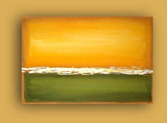 "ORIGINAL Mustard and Olive Original Large Abstract Acrylic Modern Fine Art Painting 24x36x1.5"" by Ora Birenbaum"
