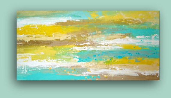 """LARGE Yellow and Aqua Original Abstract Acrylic Fine Art Painting Textured on Gallery Canvas Titled: Cool Breeze 24x48x1.5"""" by Ora Birenbaum"""