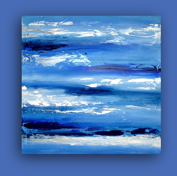 "ART Original Modern Contemporary Blue and White Abstract Acrylics on Canvas Painting Titled: BLUE SKIES 24x24x1.5"" by Ora Birenbaum"