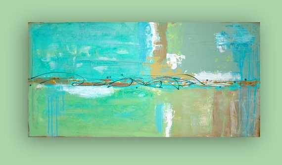 "RESERVED. ORIGINAL ABSTRACT Beach Glass 24x48x1.5"". Original Ora Birenbaum Acrylic Abstract Painting Fine Art on Gallery Canvas."