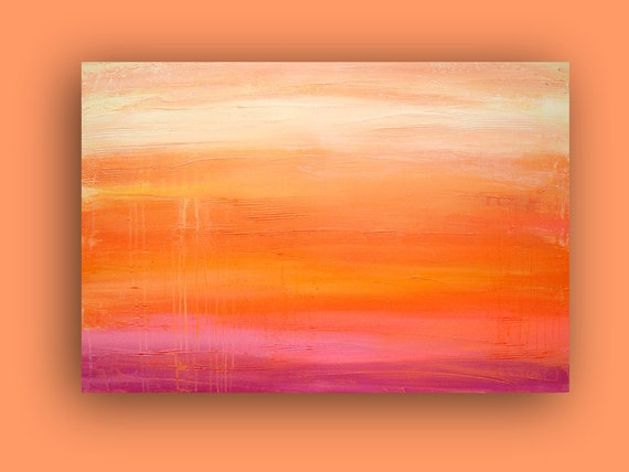 "Original Abstract Acrylic Fine Art Painting Titled: SUMMER RAIN 24x36x1.5"" on Gallery Canvas by Ora Birenbaum"