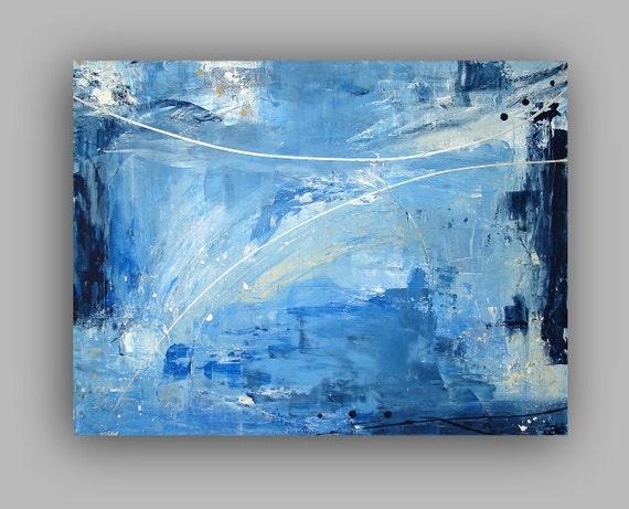 "Blue ABSTRACT ACRYLIC PAINTING Titled: Starry Night Sky 30x40x1.5"" by Ora Birenbaum"
