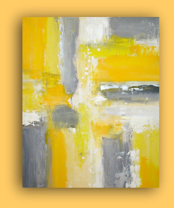 "ART ORIGINAL Yellow and Gray Acrylic Painting on Gallery Canvas Titled: Paved Paradise 24x30x1.5"" by Ora Birenbaum"