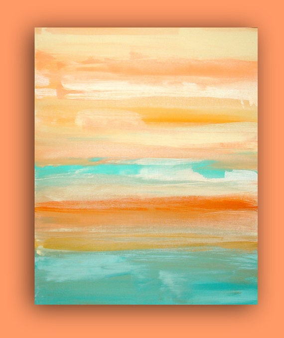 "Original Coral and Aqua Acrylic Abstract Fine Art Painting Titled: CORAL SURF 24x30x1.5"" by Ora Birenbaum"
