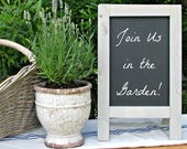 Vintage MINI Tabletop French Cafe Sidewalk Chalkboard, French Cafe Sign, French Gray