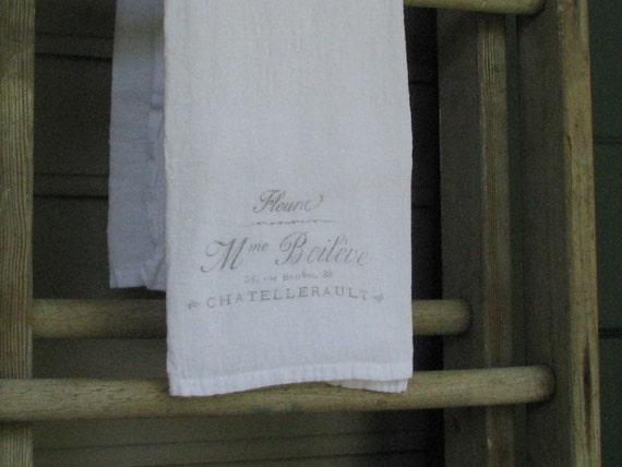 Vintage Flour Sack Tea Towel, French Fleura Advertisement, Cotton Tea Towel