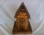 Rustic Log Outhouse Bird Feeder