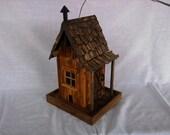 Rustic Wood Cabin Bird Feeder