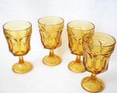 Vintage Glass Goblets Amber