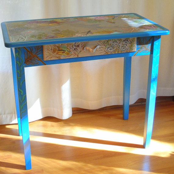 "Hand Painted ""FantaSea"" Laptop Desk/Decorative Table"