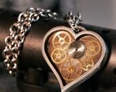 Geared Heart Speakeasy Original Custom 935 Silver Pendant Necklace